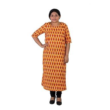 bf9973a148 Amazon.com: Indo Mood Indian Womens Pure Cotton Pochampalli Ikat Orange &  Red Color Kurti: Clothing
