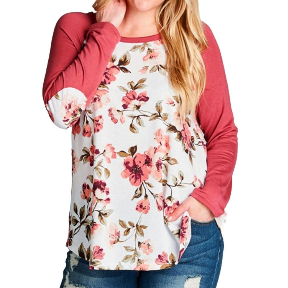 Tenworld Womens Casual Tops Fashion Flower Print Plus Size Baseball T-Shirt