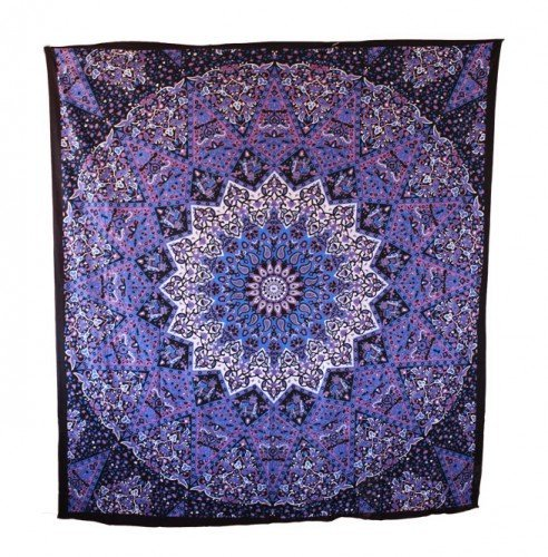 Popular Handicrafts Hippie Mandala Tapestry Blue Purple Tapestry Wall Hanging Large Table Runner Bed Cover Indian Art Cotton Bohemian Hippie Tapestry Bedsheet Wall Hanging By Popular Handicrafts (Wall Desk Bed)