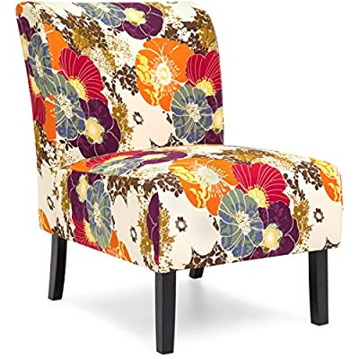 Best Choice Products Polyester Upholstered Modern Armless Accent Chair, Floral Print - SOLID CONSTRUCTION: Armless accent chair constructed with a durable polyester-blend canvas and hardwood frame ATTRACTIVE: This chair's upholstery is designed with a colorful scroll-style print for a chic addition to your living space BUILT FOR COMFORT: Crafted with a soft foam upholstery and tall, curved seat back to ensure optimal comfort while seated - living-room-furniture, living-room, accent-chairs - 61Q6xK7Mb2L. SS400  -