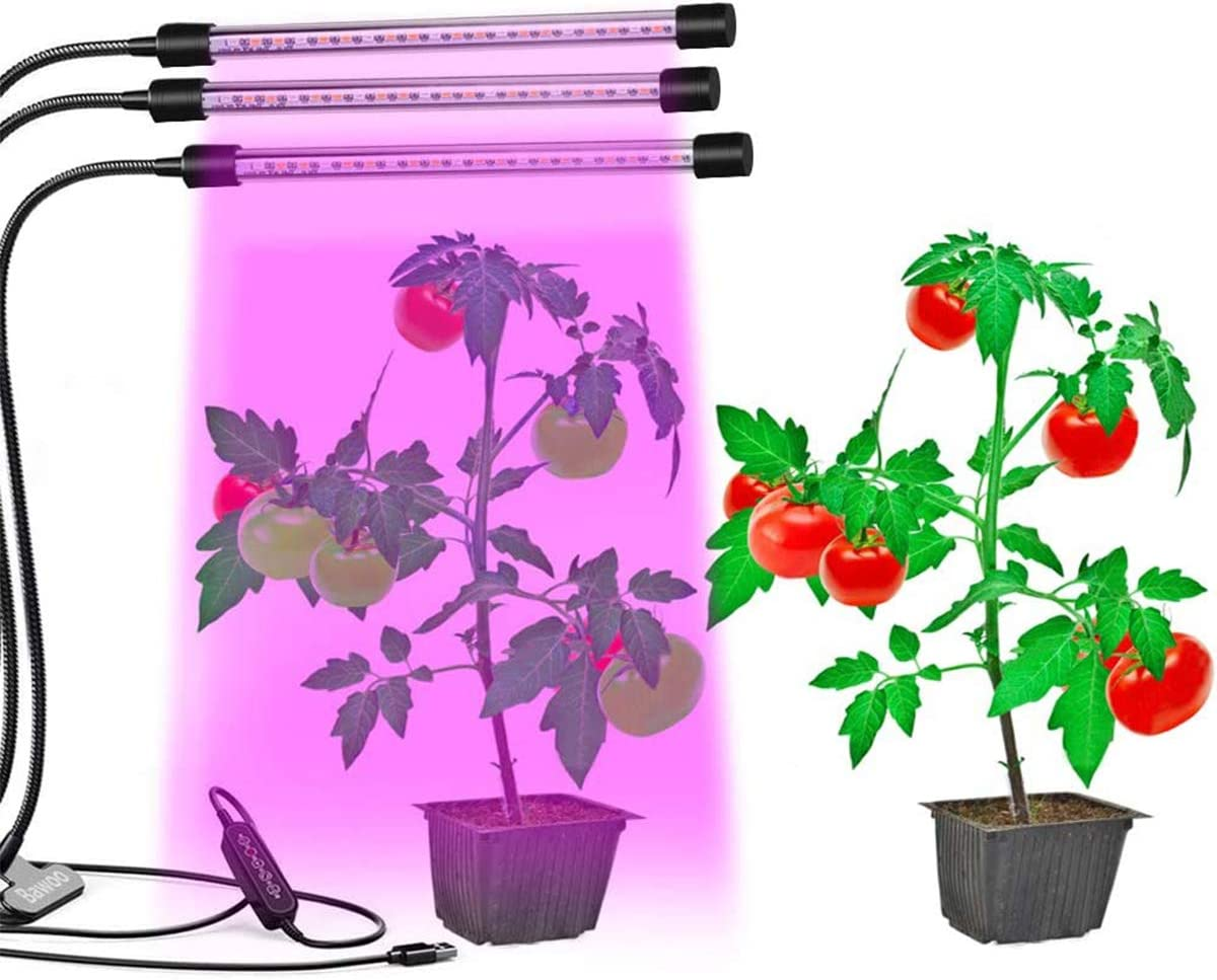 MustWin Indoor Grow Lights for Plants Full Spectrum UL Listed Plug, 45W 99 Bright LEDs, Timer Auto On Off, 360 Degree Flexible Arms with Sturdy Clip, Dimmable 3-Head LED Plant Grow Lamps, Black, Round