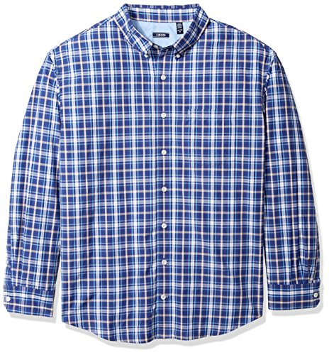 (IZOD Men's Big and Tall Breeze Short Sleeve Button Down Plaid Shirt, Twilight Blue, 2X-Large)
