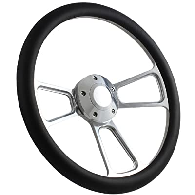 5-bolt Steering Wheel 14 Inch Aluminum with Black Wrap and Horn: Automotive
