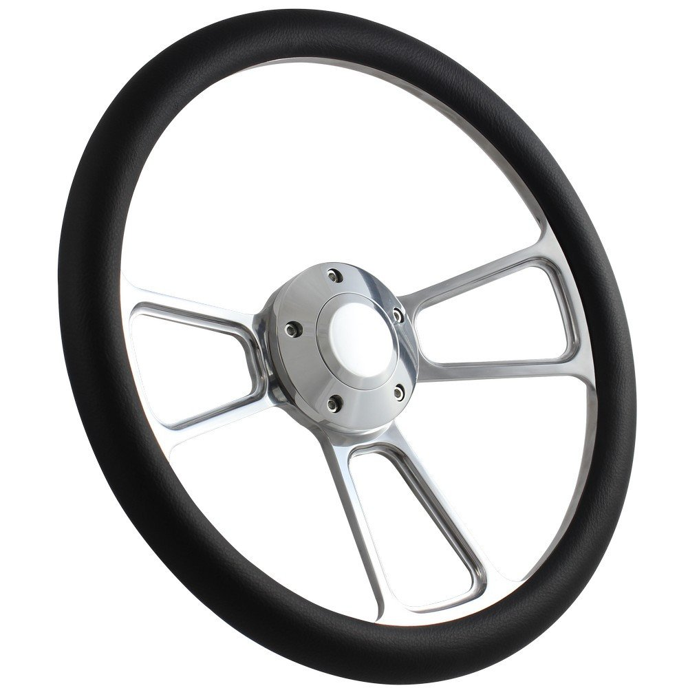5-bolt Steering Wheel 14 Inch Aluminum with Black Wrap and Horn by Forever Sharp (Image #1)
