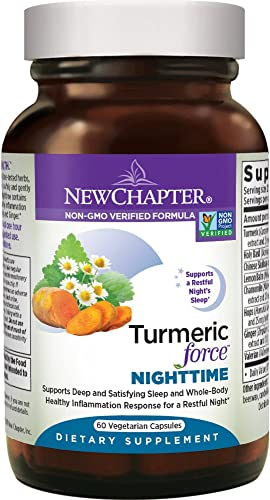 New Chapter Turmeric Supplement Sleep Aid – Turmeric Force Nighttime for Sleep Support with Valerian Root Ginger NO Black Pepper Needed Non-GMO Ingredients – 60 Vegetarian Capsule