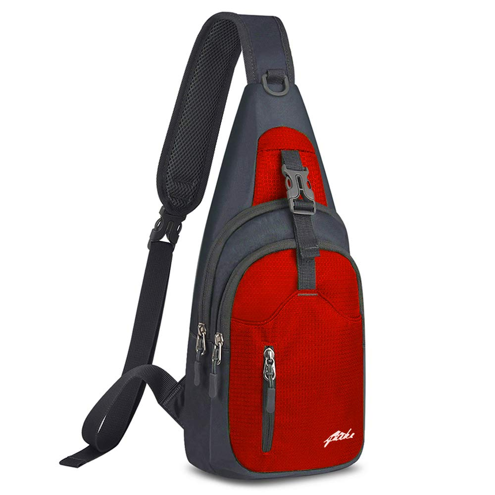 Y&R Direct Sling Bag Sling Backpack,Shoulder Chest Crossbody Bag Purse Nylon Lightweight Multicolor Small Daypack Outdoor Hiking Camping Travel Women Men Boy Girls Kids Gifts (Red)