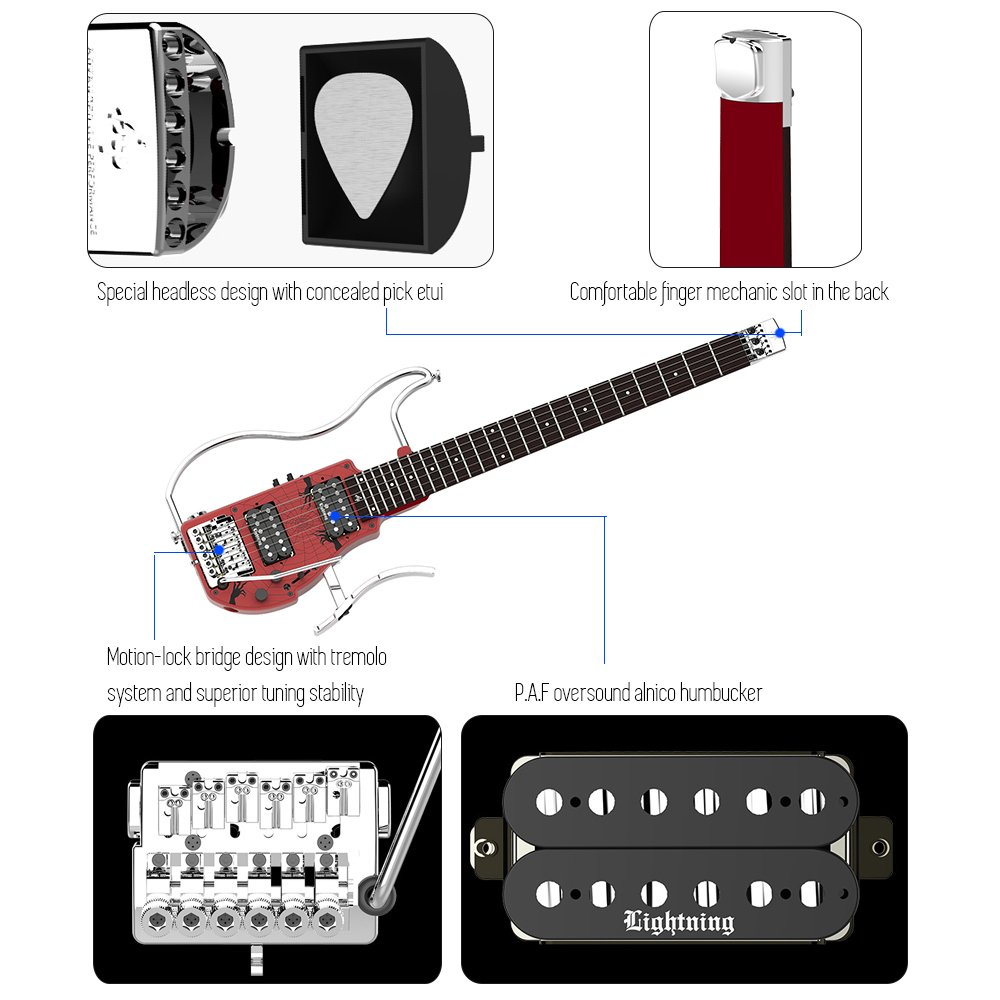 ALP ADS-361HCL Plegable Guitarra eléctrica de viaje sin cabeza Doble ...