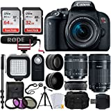 Canon EOS Rebel T7i DSLR Camera + EF-S 18-55mm IS STM Lens & EF-S 55-250mm IS STM Lens + 58mm Wide Angle & Telephoto Lens + 64GB Memory Card + Remote + LED Light + Tripod & Monopod – Video Creator Kit