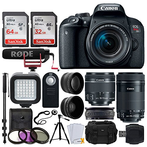 Canon EOS Rebel T7i DSLR Camera + EF-S 18-55mm IS STM Lens & EF-S 55-250mm IS STM Lens + 58mm Wide Angle & Telephoto Lens + 64GB Memory Card + Remote + LED Light + Tripod & Monopod – Video Creator Kit
