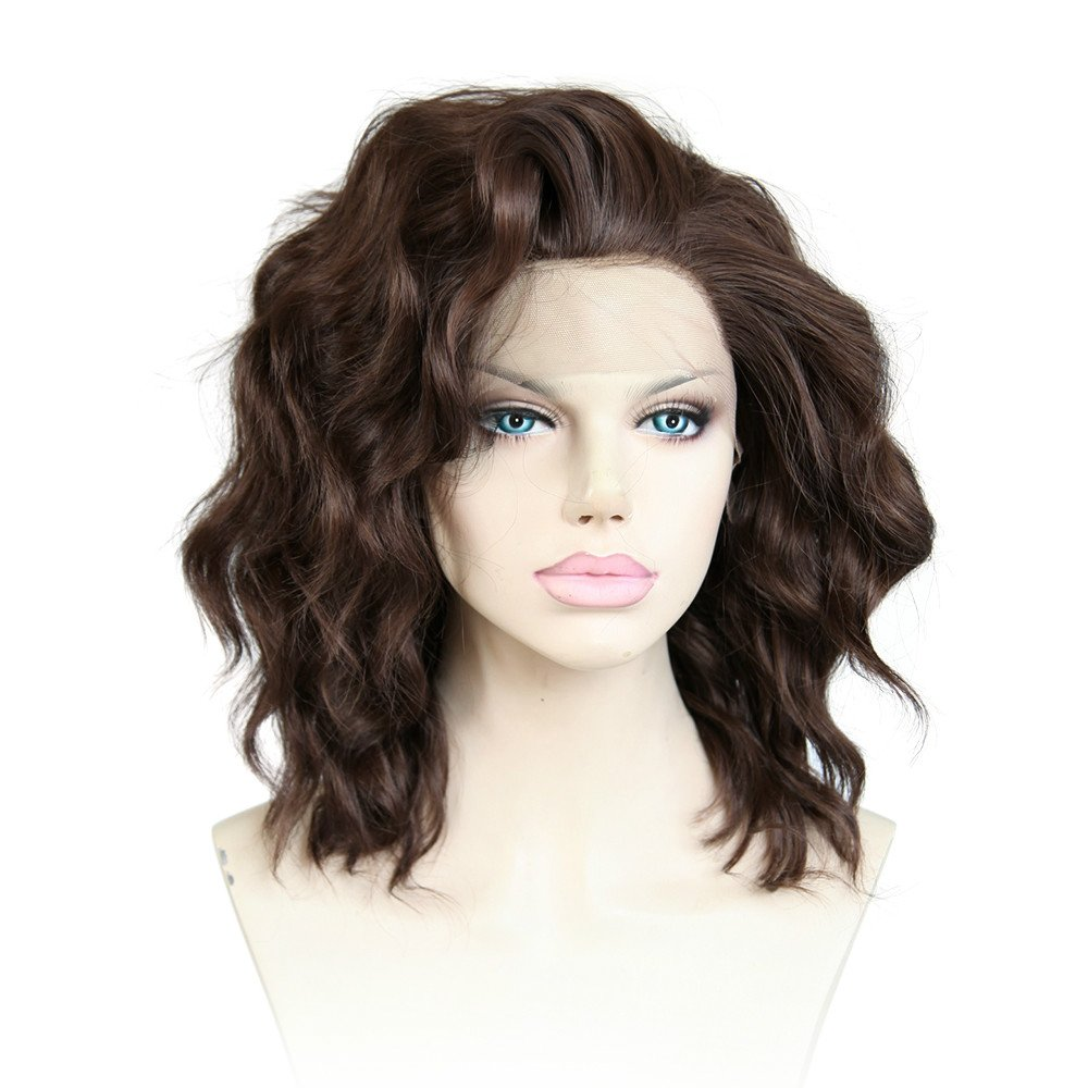 Cbwigs Short Wave Wigs Synthetic Lace Front Wigs Baby Hair Natural Hairline Brown African American Wigs 10 inch #6/8 by CBWIGS Ltd CBSW-017-2