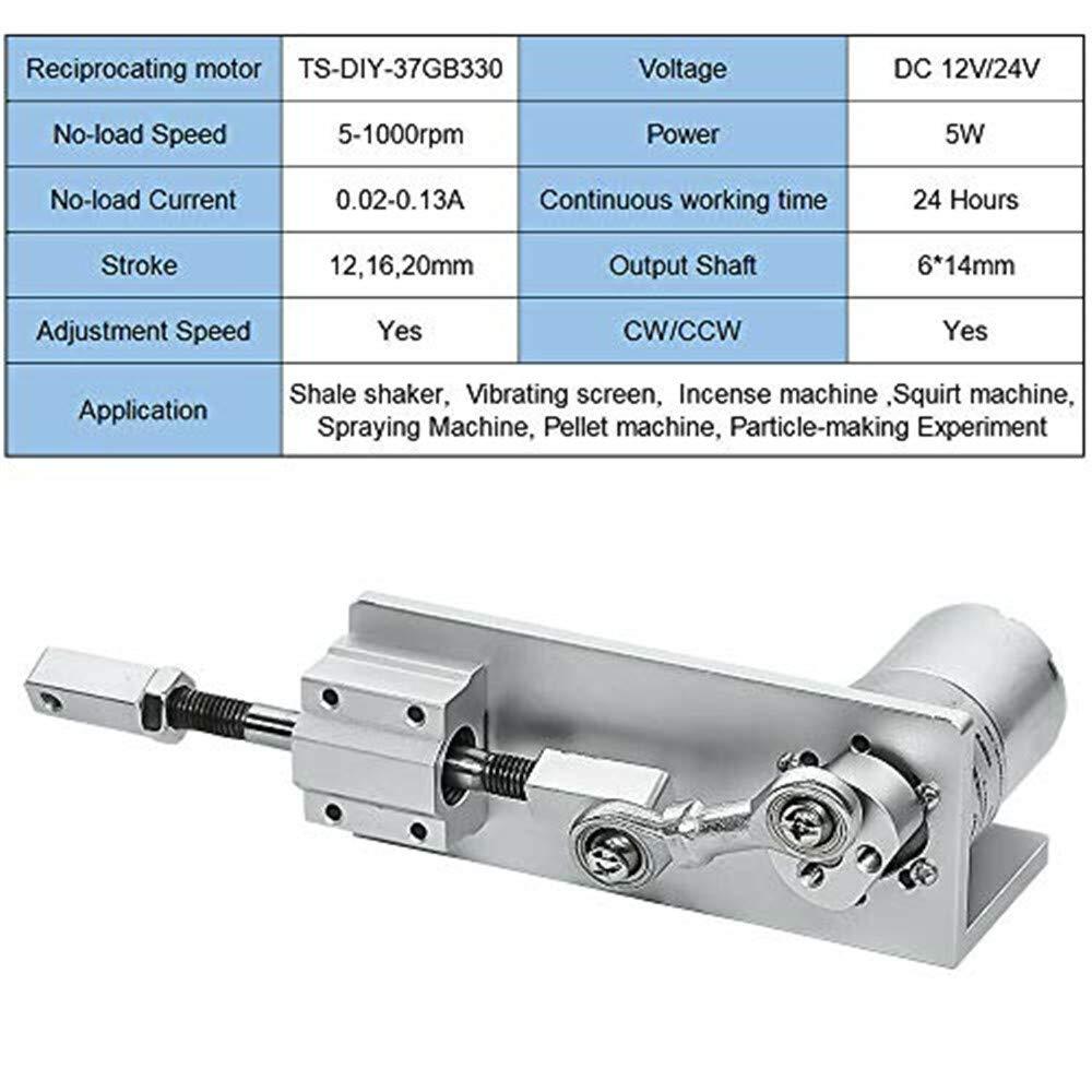 16 mm 12 mm 12 V 100 RPM 100 20 mm Motor de reciprocidad de movimiento lineal el/éctrico para ciclismo 24 V 12 Volt