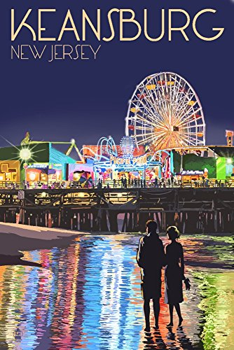 - Keansburg, New Jersey - Pier and Rides at Night (16x24 SIGNED Print Master Giclee Print w/ Certificate of Authenticity - Wall Decor Travel Poster)