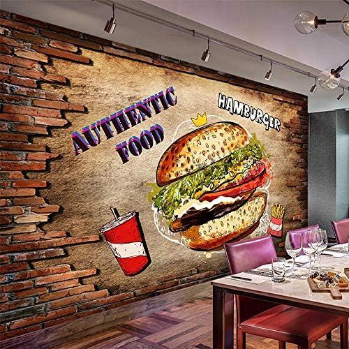 Ansyny PVC自己接着防水壁画壁紙3Dレンガ壁ハンバーガーファーストフードレストランの背景の壁の取り外し可能な壁のステッカー-400X240CM