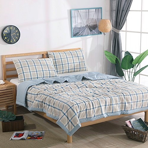 Summer Grid (NTCOCO 3 piece Comforter Set Thin quilt lightweight comforter Blanket 100% Washed Cotton Perfect For Summer machine washable Can sleep naked (Blue Grid, KING))