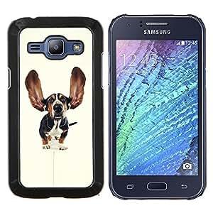 BearCase / Cubierta de protección Caso duro de la contraportada de Shell Plástico /// Samsung Galaxy J1 J100 /// Orejas Basset Hound Dog Pet perrito