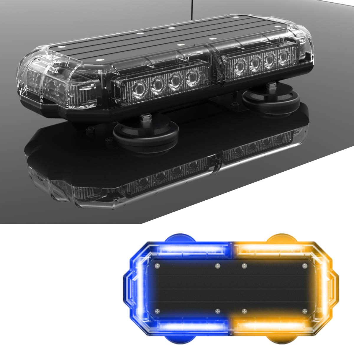 SpeedTech Lights K-Force Micro TIR 14 LED Mini Light Bar Emergency Strobe Lights /& Magnetic Roof Mount Warning Light for Emergency Vehicles Blue//Green