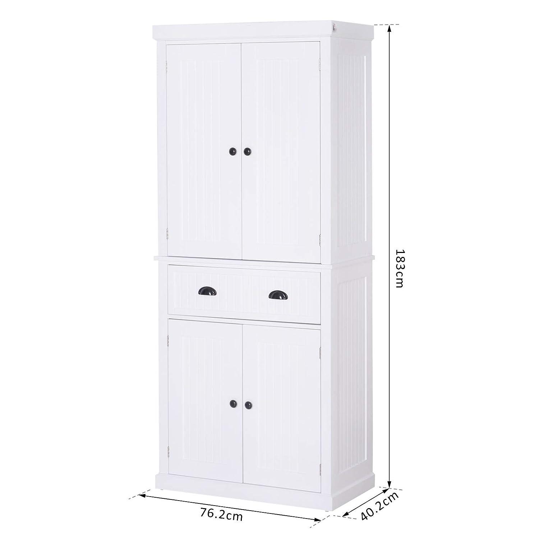 Tall Storage Cabinet Kitchen Pantry Cupboard Organizer Furniture Black White Oak