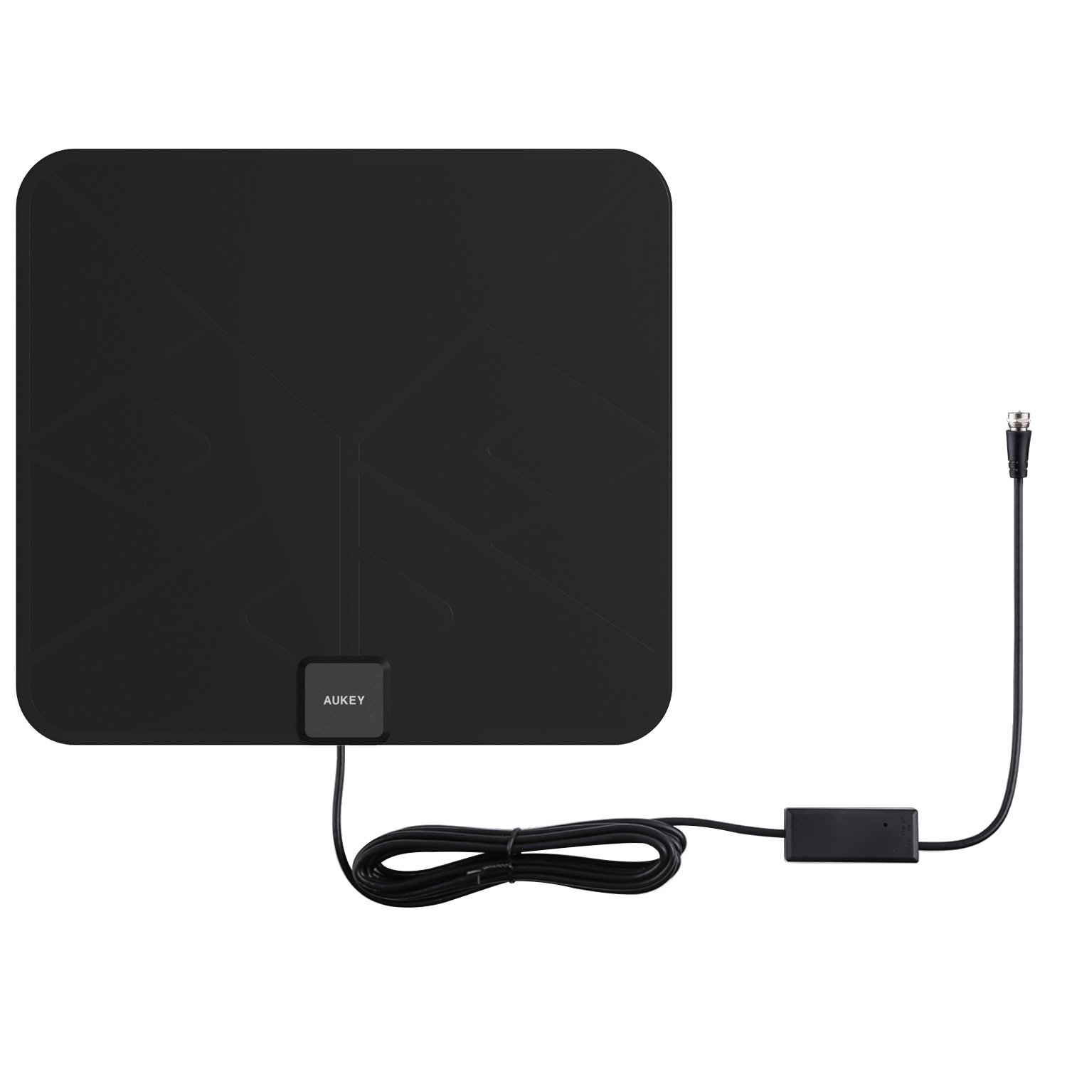 AUKEY HDTV Antenna, Amplified Indoor Digital TV Antenna with In-line Amplifier Signal Booster and 9.8ft Coax Cable for HDTVs (Black)