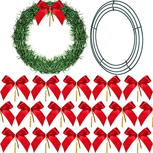 oration Set, Including 1 Piece 12 Inch Wire Wreath Frame, 24 Packs 2.5 cm Christmas Bow and 5 Meters Christmas Garland for Christmas Tree Decoration ()