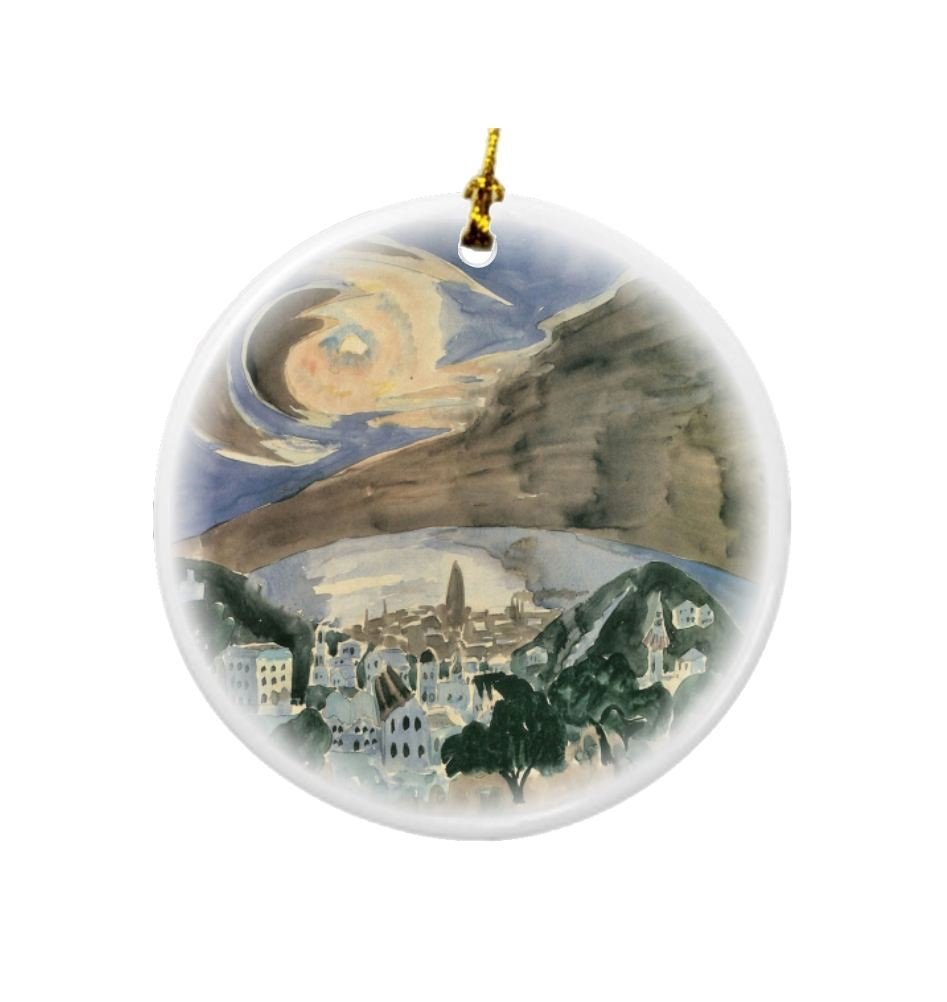 Rikki Knight Walter Gramatte Art Moon Over Barcelona Design Round Porcelain Two-Sided Christmas Ornaments