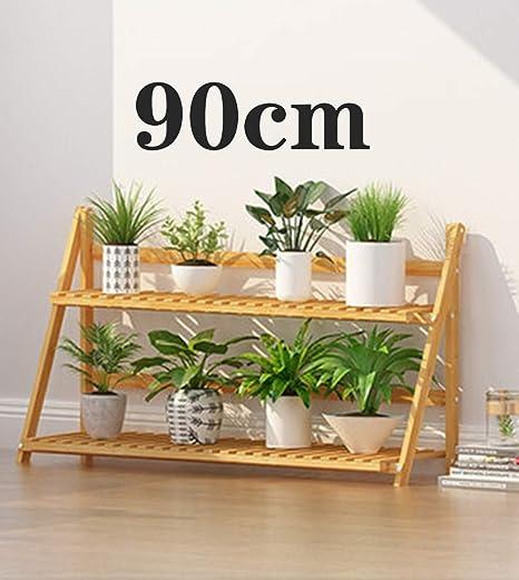 Inys Escalera de 2 Capas para Plantas, macetas de Madera macetas de Madera Estante de exhibición de Flores, balcón, estantería, estantería, balcón del jardín del hogar - (50/60/70/80/90 / 100cm),90cm: Amazon.es: Hogar