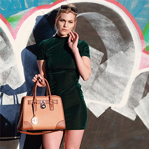 Dasein Women's Designer Padlock Belted Top Handle Satchel Handbag Purse Shoulder Bag With Matching Wallet (02-6892 Simple Color Pewter + Matching wallet) by Dasein (Image #2)