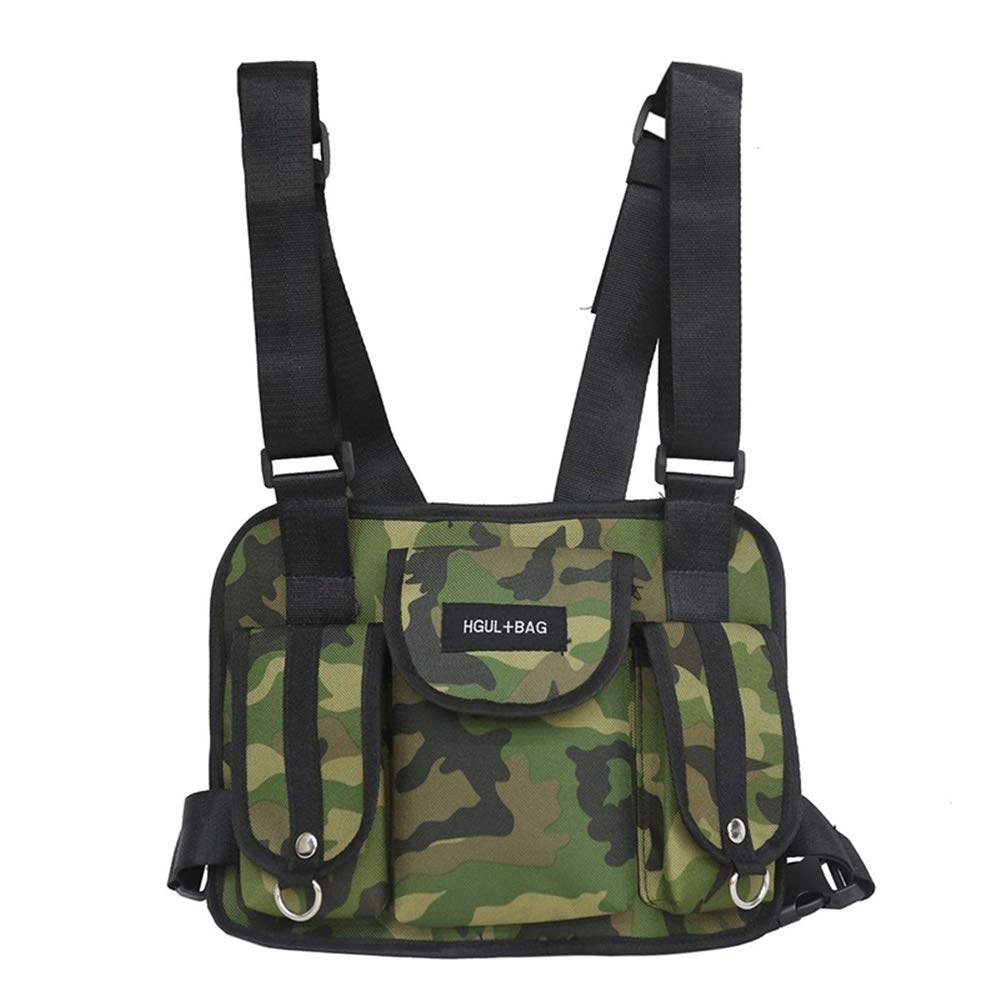 Badiya Chest Harness Chest Front Bag Pouch Sport Backpack Daypack Army Fans Field Tactical Vests Pack for Men Women