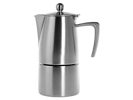 Ilsa Slancio Cafetera Espresso, con Fondo Inducción, Acero Inoxidable, Plata, para 4 Tazas