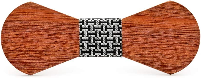 Wuxingqing Corbata de Lazo de Madera para Hombre Boda Personalizada Hecha a Mano del Regalo del día de Padre de la Pajarita de Madera sólida Accesorios para Hombres Corbatas (Color : E)