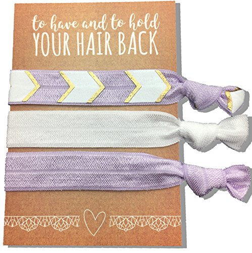 Jeune Marie 6 Pack Purple Ribbon Hair Ties KIT No Crease Elastics Handtied Ouchless Ponytail Holders Hair Band Bracelet Favors for Bachelorette Parties, Bridal Showers, and More! (6 Pack, Purple)