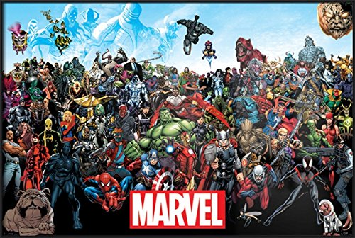 "Marvel Comics Universe - Framed Comic Poster / Print (All Marvel Characters) (Size: 36"" x 24"") (By POSTER STOP ONLINE)"