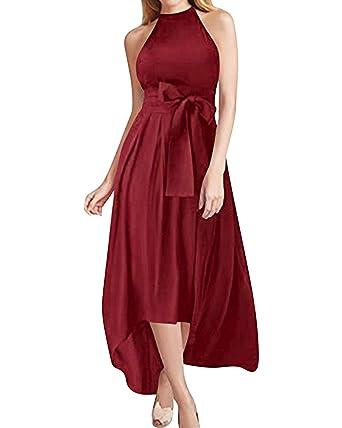 fbc4ab6770 Jacansi Jacket+Belt+Dress Formal Asymmetrical Long Dresses for Women Wine  Red 2XL  Amazon.co.uk  Clothing