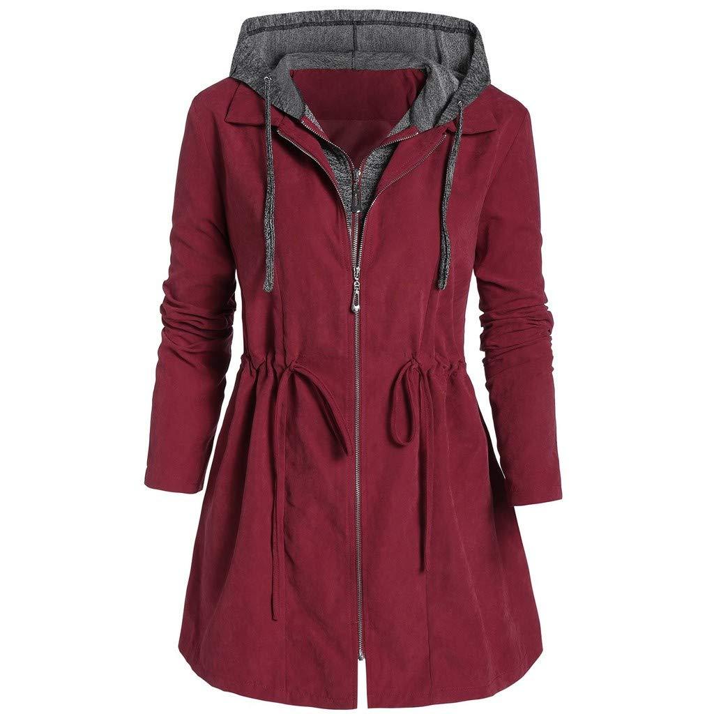FEDULK Womens Hooded Coat Zipper Thicken Jacket Winter Warm Space Plus Cotton Overcoat Outwear(Wine, XX-Large) by FEDULK