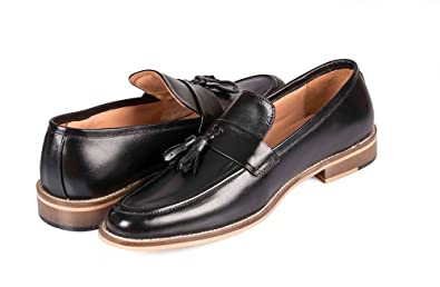 Vince&Nancy Handcrafted Genuine Patent Leather Oxford Shoes Men Classic Tassel Semi Formal Loafer Mens Dress Shoes