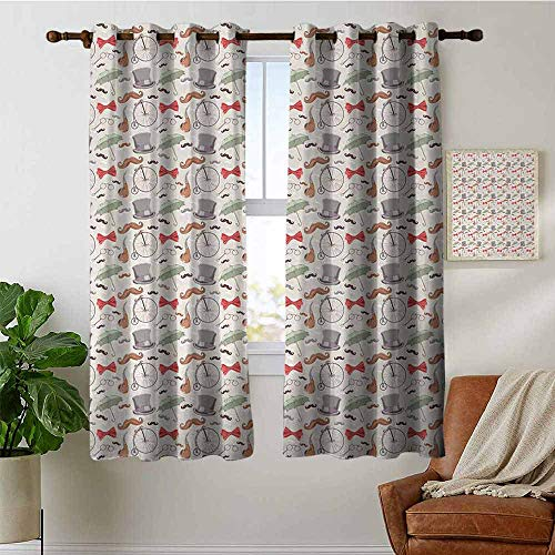 (petpany Modern Farmhouse Country Curtains Bicycle,1940s Objects of High Wheel Bicycle Lorgnette Bow Tie Handlebar Moustache Umbrella,Multicolor,Design Drapes 2 Panels Bedroom Kitchen Curtains 42