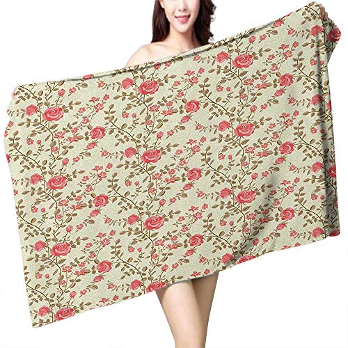 Stem Rose Towel - Soft Bath Towel Rose Rustic Pattern with Floral Stems Old Fashion Design Classical Feminine W10 xL39 Suitable for bathrooms, Beaches, Parties