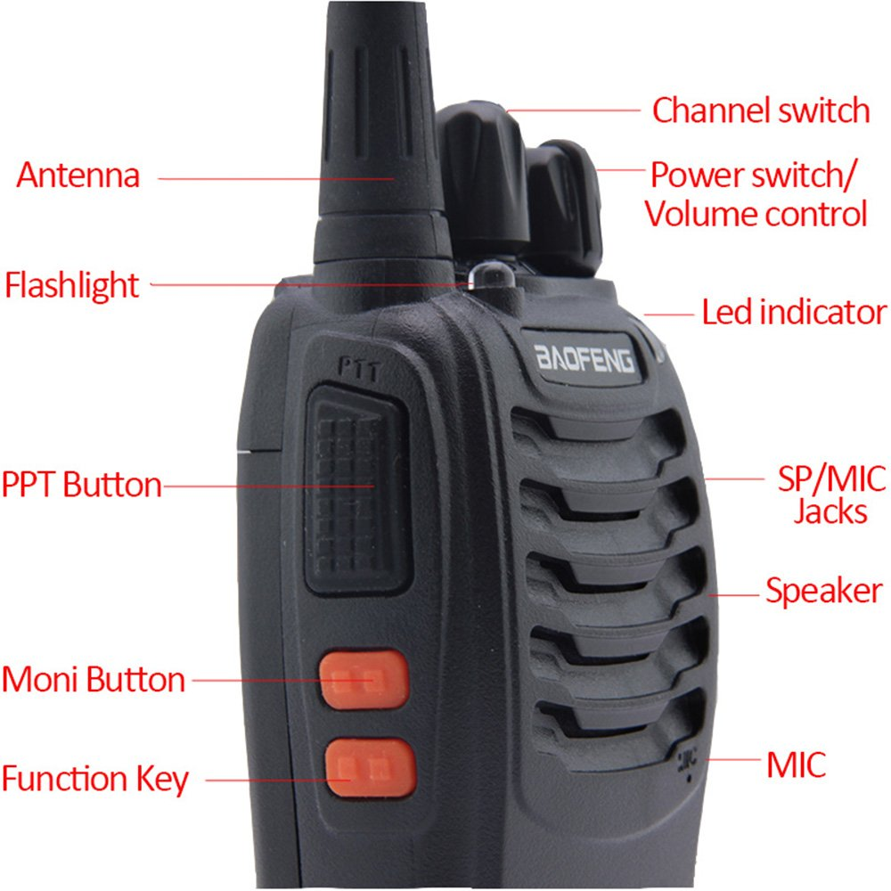 Baofeng BF-888S USB Charger Rechargeable Walkie Talkies Long Distance Walkie Talkie Long Range 2 Way Radios Frequency UHF 400-470MHz with Earpiece and Mic Set 6 Pack ShenZhenShiBoSheng Trade Co .Ld