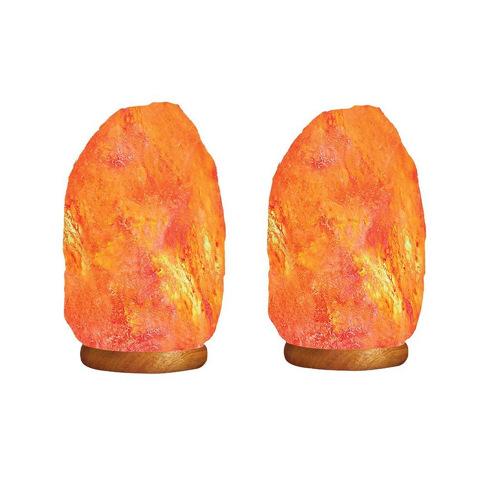 RBH 2 Sets of Crystal Salt Rock lamp Night Light Hand-Carved Natural Himalayan Pink Crystal Rock Salt lamp 2kg knob dimmable Gift lamp Bedroom Bedside lamp