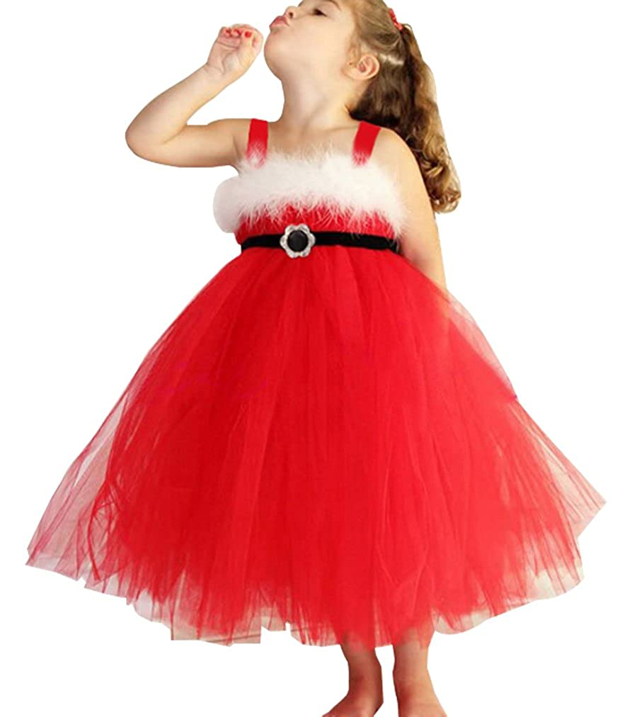 SUPEYA Princess Kids Girls Christmas Lace Dresses Sleeveless Backless Tutu Dress