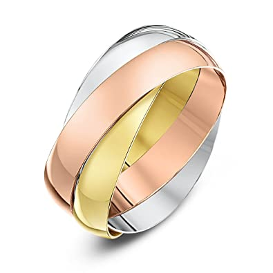 Amazoncom 9ct Three Colour Gold 4mm Russian Wedding Ring Size P