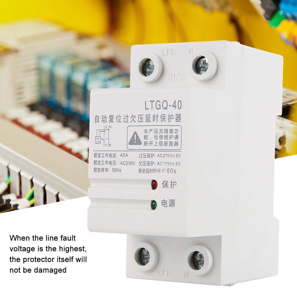 Rel/é de sobre y bajo voltaje 230V AC 2P//40A Protector de tensi/ón de reconexi/ón autom/ática Rel/é de voltaje de vigilancia protecci/ón contra sobre//bajo voltaje