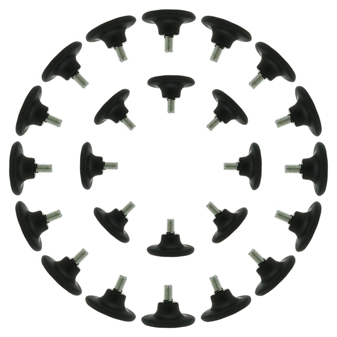 uxcell M8 x 15 x 45mm Screw on Furniture Glide Leveling Feet Floor Protector Adjustable Leveler for Chair Leg 24 Pack