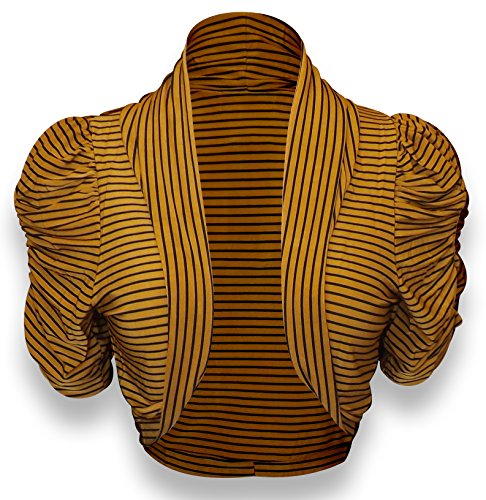 Peach Couture Boho Fashion Ruched Short Sleeves Cropped Open Shrug Bolero Jacket (Striped Gold, Small)