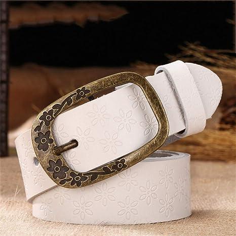 Cinturón de mujer para mujer Cinturones de cuero genuino para mujeres Diseño  de repujado de piel 5b038aee8a4f