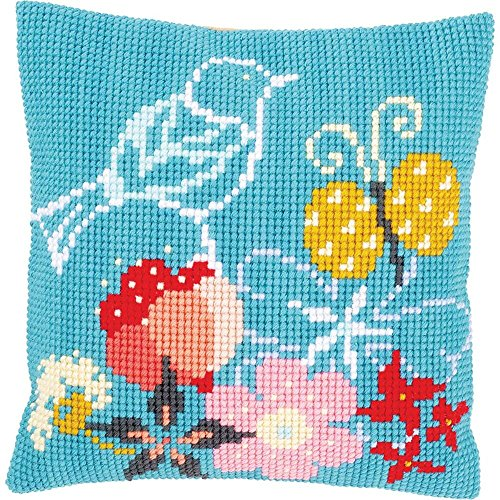 Vervaco Bird & Butterfly Pillow Cover Needlepoint Kit