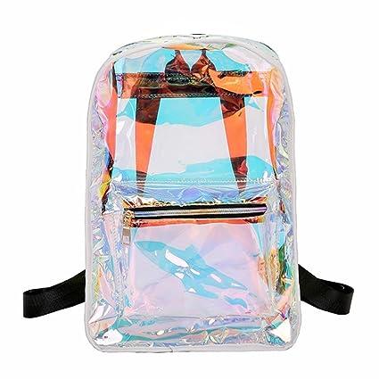 c58cee5ad8 Amazon.com  Women PVC Clear Backpack HOSPORT Laser Hologram Shoulder ...