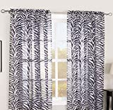 "GorgeousHomeLinenDifferent Solid Colors 2 PC Rod Pocket Sheer Window Curtains Treatment Drape Voile Elegant Panels 55"" Width X 63"" 84"" 95"" Length (95"" Length, Zebra)"