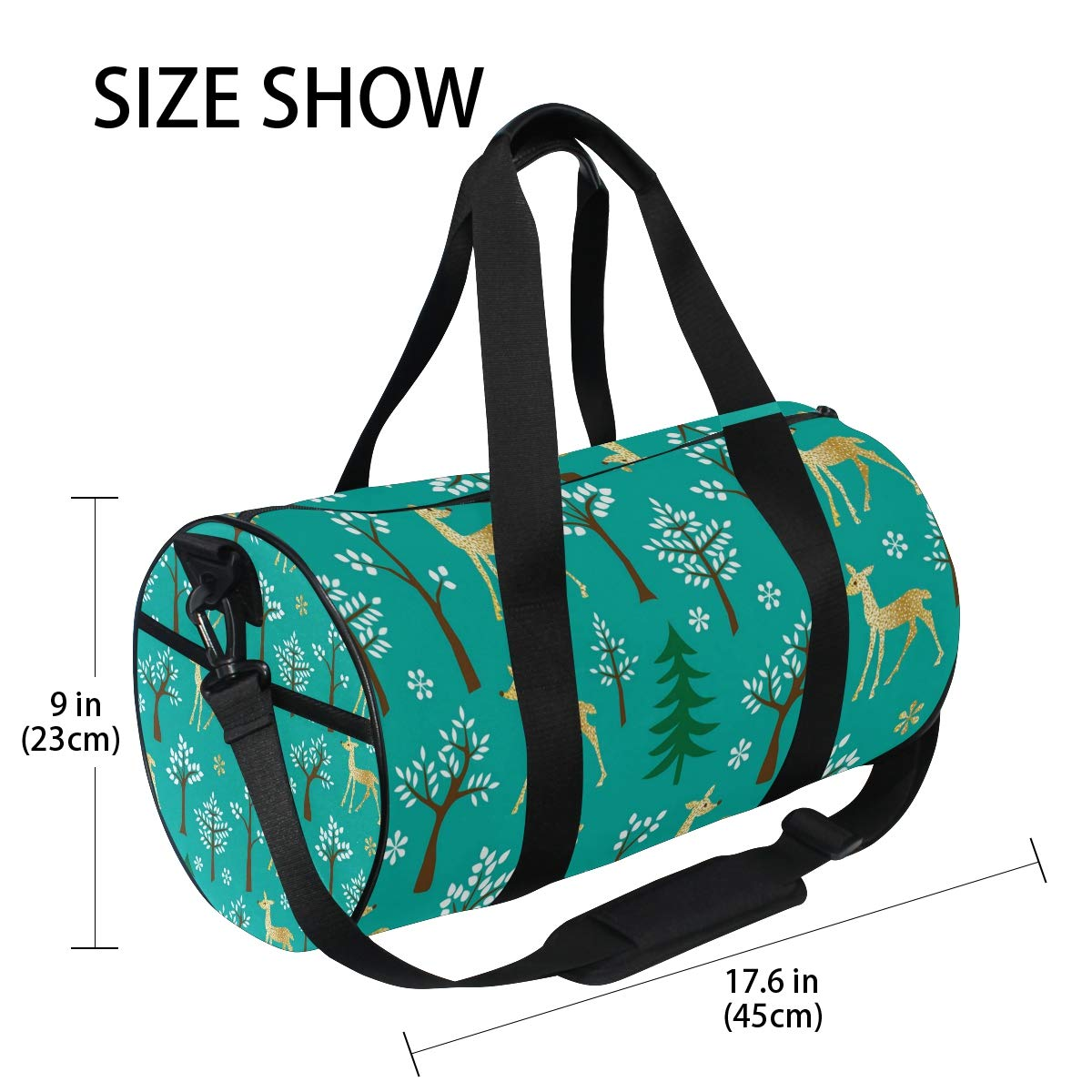 Sports Gym Duffel Barrel Bag Gold Glitter Deer Blue Travel Luggage Handbag for Men Women