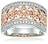 14k Rose Plated Sterling Silver Vintage Diamond Anniversary Ring (1/4cttw), Size 7