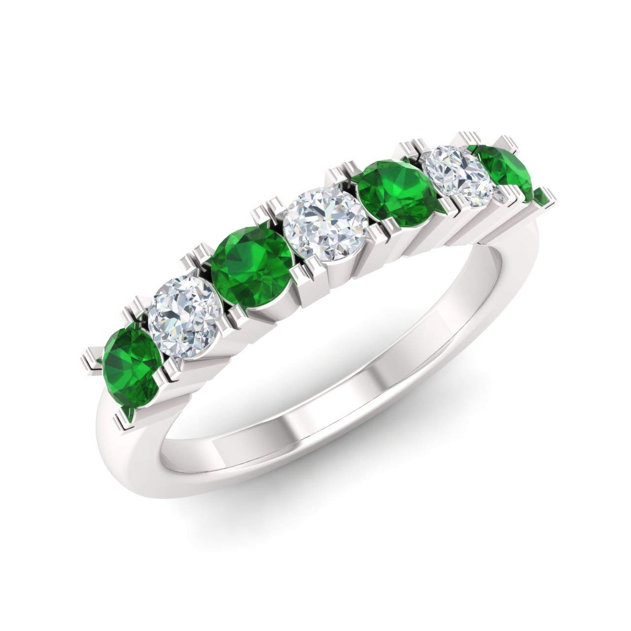 Diamondere Natural and Certified Emerald and Diamond Wedding Ring in 14K White Gold | 0.82 Carat Half Eternity Stackable Band for Women, US Size 7 by Diamondere